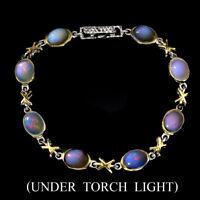 Unheated Oval Fire Opal Hot Rainbow 9x7mm 925 Sterling Silver Bracelet 7.5in