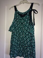 NEW Style & Co Women Babydoll Blouse Ruffle Tiered Teal & Black Geometric Design