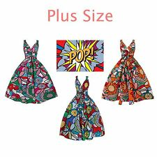 Ladies 1950's Retro Vintage Funky Pop Art Floral Retro Swing Dress in Plus Size