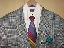 44R Stafford Glen Plaid Black White Check Wool Blazer + Tie Rare