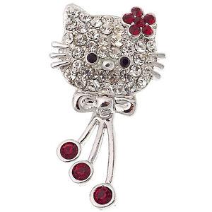 Kitty Kitten Cat Bow Label Pin Brooch Rhinestone Red Clear 18k W GP Jewelry Gift