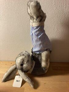 Pier 1 Hop Town Bunny Gardner Blue Stripe Large Rabbit Decoration Easter Spring