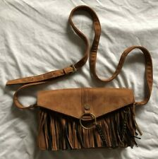 Steve Madden Womens Brown Black Faux Leather Fringed Purse Crossbody Bag Western