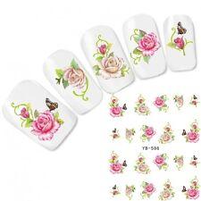Nagel Sticker Nail Art Aufkleber Lebensechte Blumen Schmetterling Water Decal