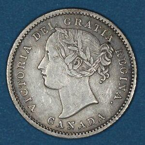 1858 Canada 10 Cents silver coin, VF/XF, KM# 3