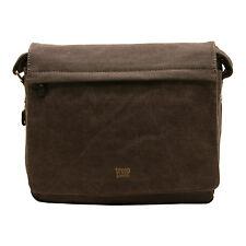 Troop London - Black Canvas Classic Laptop Messenger Bag with Leather Trim