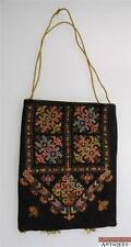 Antique Vtg Scandinavian Cross Stitched Purse Drawstring Hand Bag Olive Green