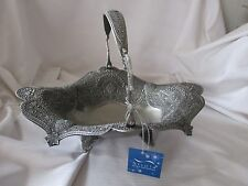 Silvia Home Collection nwt pewter style basket turquoise stones India style
