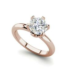Diamond Engagement Ring Rose Gold Solitaire 0.75 Carat Vs1/F Round Cut
