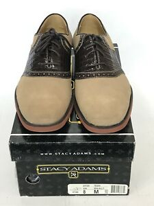 Stacy Adams Mens Tegan Saddle Shoes - Nubuck Suede Leather - Size 8M - BNIB