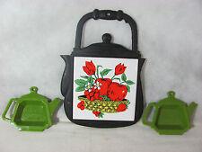 Cast Iron Kettle Shaped Trivet and 2 Avocado Green Tea Bag Trivets