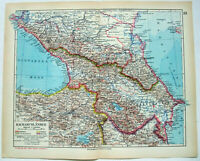 Original 1931 Map of The Caucasus. Georgia Armenia & Azerbaijan. German Language