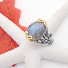 Labradorit blau grün gold Design Ring Ø 19,0 mm, 925 Sterling Silber schwarz