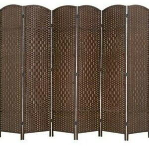 New - Room Divider 6 Panel Folding Bamboo, Privacy Divider, 6 Ft Indoor - Brown