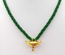 Amulet Necklace In Green Beads Vintage Antique Solid Gold Pendant India