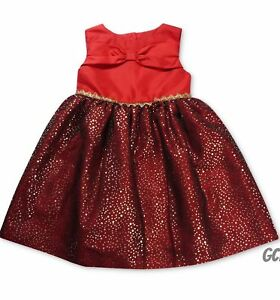 New $58 Retail Penelope Mack Little Girls Sparkle Bow Red Dress size 4T 5 6