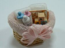 Basket Baby Set, Doll House Miniatures Nursery Accessory 1.12 Scale