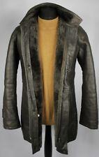 Faux Leather Shearling Type Coat Jacket Grey Vegan UK 38/40 - DL011