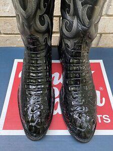 TONY LAMA BLACK HEADCUT HORNBACK ALLIGATOR COWBOY WESTERN BOOTS 15 D USA MADE