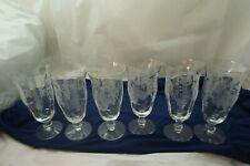 "VINTAGE TIFFIN GLASS GOBLETS PERSIAN PHEASANT ICED TEA GLASSES SET 6 17358 6.75"""