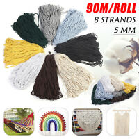 5mm 90m/Roll Cotton Rope Thread Cords String Macrame DIY Craft Wire 8 Strands