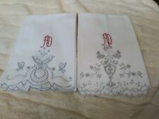 Set of 2 Madeira Embroidered Cotton Hand Towels with Red Initials of AD As Is
