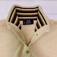 Boggi Milano Mens Sz S Wool Blend Button Sweater Beige Tan Contrast Collar