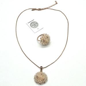 NWOT Rigant 18Kt Rose Gold Plate Necklace Pendant Ring 7.75 Swarovski Crystal
