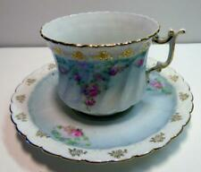 RED STAMP R. S PRUSSIA CUP&SAUCER GORGEOUS ROSES PALE BLUE SCALLOPED GOLD TRIM