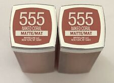 (2) Maybelline Colorsensational Creamy Matte Lipstick, 555 Naked Coral