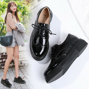 Womens Platform Lace-Up Comfort Wingtips Round Toe Patent Leather Brogues Shoes