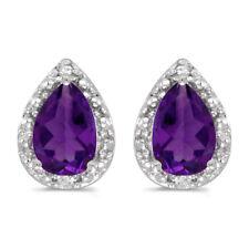 10k White Gold Pear Amethyst And Diamond Earrings