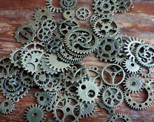 20 Assorted Metal Gears Steampunk Clock Cog Dark Rustic Silver Mix Bulk Lot Set