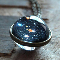 Necklace Glass Ball Solar System Galaxy Pendant Moon Space Universe Gift NEW