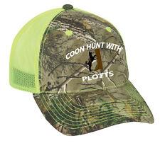 Cap Hat Camo Safety Green Mesh Raccoon Coon Hunt Hunter Hound Dog Plott
