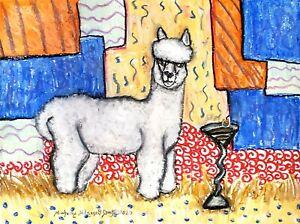 Martini Alpaca Art Print 5 x 7 Farm Collectible Artist Kimberly Helgeson KSams
