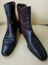 SALVATORE FERRAGAMO Ankle Boots Brown Leather/Suede  9.5