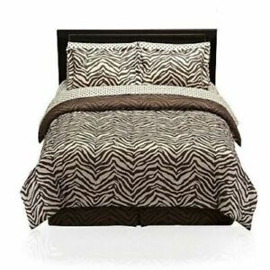 Wild Animal Print Zebra Brown Polka Dot Comforter Set Bed in Bag Twin