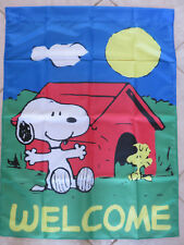 Snoopy and Woodstock Peanuts Welcome Garden Yard Flag Large Brand New