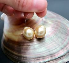 SHINING EXOTIC RARE AA+ SOUTH SEA GOLD CULTURED PEARL PAIR  6.74 grams