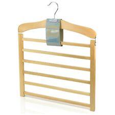 Hangerworld™ 3 Natural 38cm Wooden 6 Tier Non Slip Trouser Bar Clothes Hangers