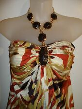 Sky Clothing Brand S Mini Dress Gold Jeweled Halter Printed Animal Spring Party