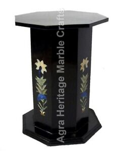 """28""""x15"""" Marquetry Inlaid Marble Pedestal & Table Base Occasional Decor E547B"""