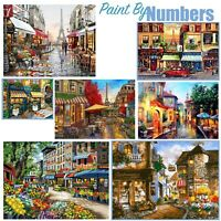Town Buildings Design DIY Oil Painting Paint By Numbers Canvas Kit 50 x 40cm