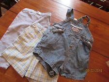 3-Size 12 Months Boy Lot Oxford Blue Dress Pants Carter Denim O'alls US Shorts