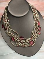 Vtg Bohemian Coldwater  Creek Necklace Strand Pink Silver Crystal Beaded  16""