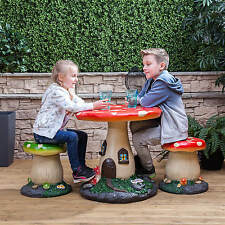 Kids Mushroom Outdoor Garden Patio Table & Stools Furniture Set for Children