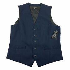 INC Mens Slim Fit Stretch Micro-Check Suit Vest Navy S