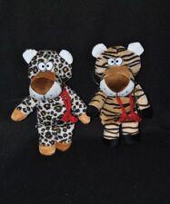 Lot 2 peluche doudou léopard tigre L. DAKE en Zn beige blanc yeus durs 20cm TTBE