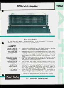 Altec Lansing 9860A Acousta-Voicing Active Equalizer Rare Orig Dealer Brochure
